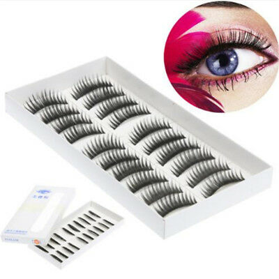 10 Pairs 3D Natural Long Fake Eye Lashes Handmade Thick False Eyelashes Black XS