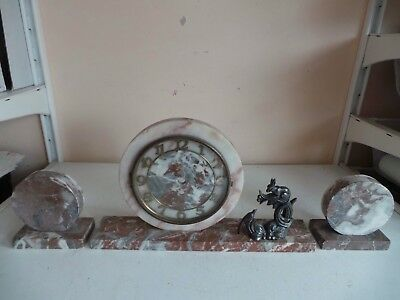 Vintage Art Deco Marble Mantle Clock Garniture 2 Side Ornaments Metal Animal Dec
