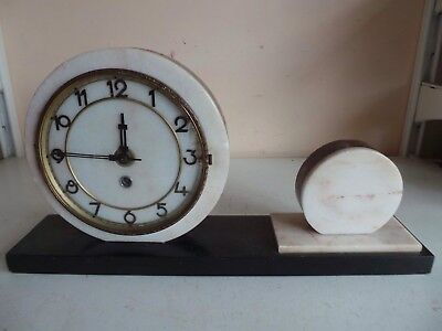 Old Bentima French Art Deco Marble Mantle Clock Garniture w Round Side Ornament