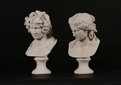 Dionysus and Companion, Classical Marble Bust Sculptures, Gift, Art, Ornament.
