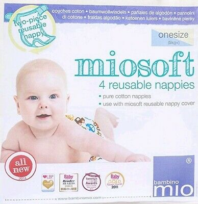 Reusable Nappy Bambino Mio Miosoft One Size 4 Pack 100/% cotton Washable Cloth