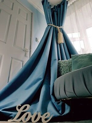"""Velvet Heavy Lined Curtains Blue Blackout Thermal Huge Window 52"""" Wide 93""""Long"""