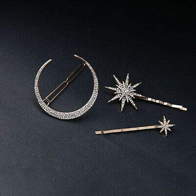 3pcs Vintage Moon Star Snowflake Barrettes Hair Clips Hair Decorations for Women