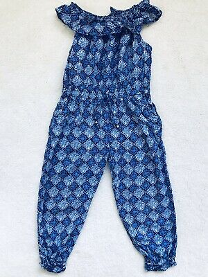 Girls Blue Patterned Sleeveless Jumpsuit Age 4 Years From Monsoon