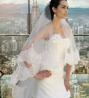 2 Tier 3M cathedral Length Bridal wedding veil Sequins Lace Edge With Comb