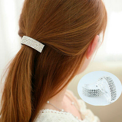 Fancy Women Half Circle Hairpin Barrette Crystal Hair Clip Bow Accessories Party