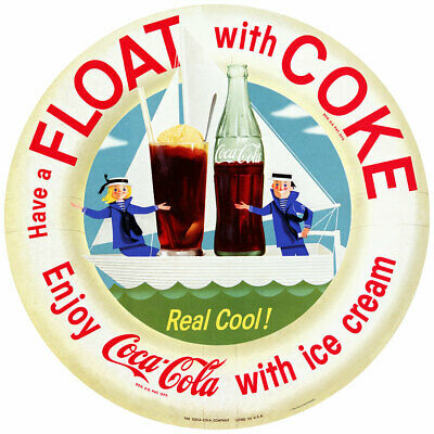 Coca-Cola Ice Cream Float With Coke 1960s Style Decal 24 x 24 Vintage Style