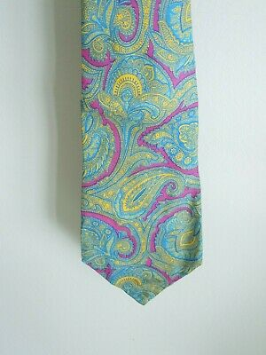 "Vintage All Silk Kipper Tie 4 1/2"" Wide Paisley Pattern Hand Made In England"
