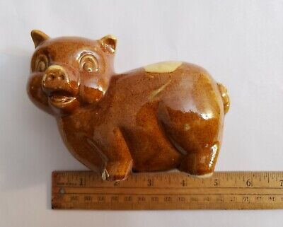 Vintage Piggy Bank Pottery Ceramic Pig Brown with Tan Spots USA made