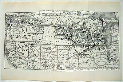 Original 1937 Chicago Milwaukee St. Paul & Pacific Railroad System Map. Vintage