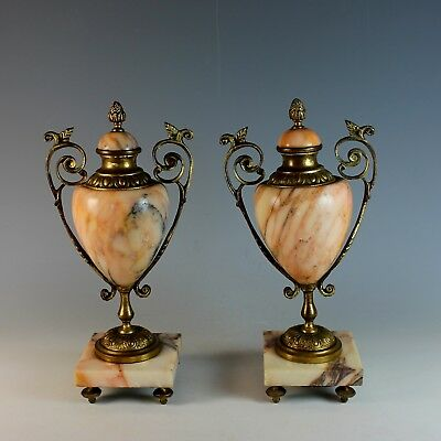 Pair of Antique French Bronze and Marble Garnitures Urns