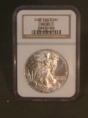 2002 $1 American Silver Eagle Ngc Ms69 Classic Brown Label