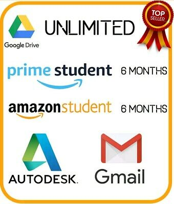 Google Drive Unlimited + 6 Months Amazon Prime Student + NEW Edu Mail