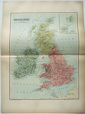 Original 1895 Map of British Isles & Ireland by  W & A.K. Johnston. Antique