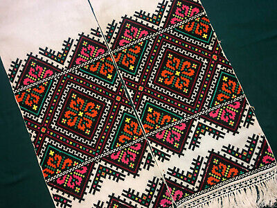Vintage Embroidered Ukrainian folk towel rushnik handmade №954