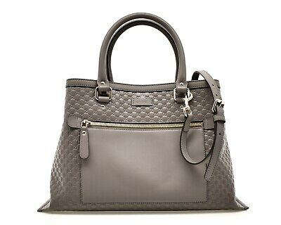 5705a68e420b54 GUCCI MICROGUCISSIMA GG Embossed Leather Tote Shoulder Bag New ...