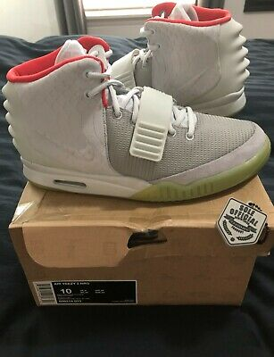 1632a339c1369 Nike Air Yeezy 2 NRG Wolf Grey Pure Platinum DS sz 10 solar red october  boost