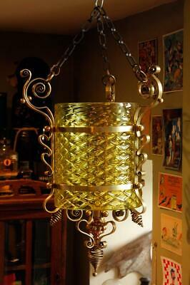 Antique Arts & Crafts Brass Glass Ceiling Lantern Hall Light Shade Benson Gothic