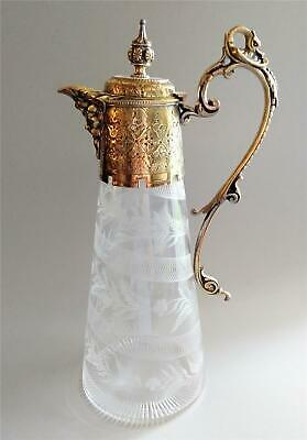 Anitique French Gold Plated Etched Wine Claret Jug Pitcher Decanter