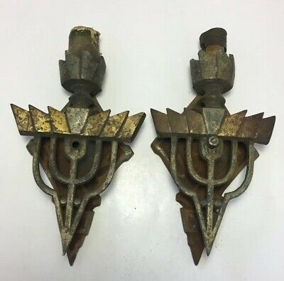 Matching Pair Of Vintage Art Deco Torch Candle Sconces For Restoration Project