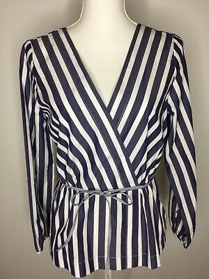 60b00912a8d127 ZARA WOMAN BLUE White Striped Tie Front Top Medium Stretchy Peplum ...