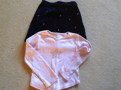 Girls Navy Blue Flower Skirt and Pale Pink Diamanté Star Top. Age 6-7