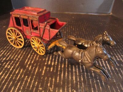 Cast Iron Stage Coach and Team of Horses circa 1950s
