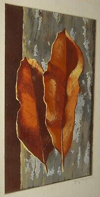 Vintage 1950-60's Artist Signed Watercolor Painting of Fall Leaves on Tree Bark