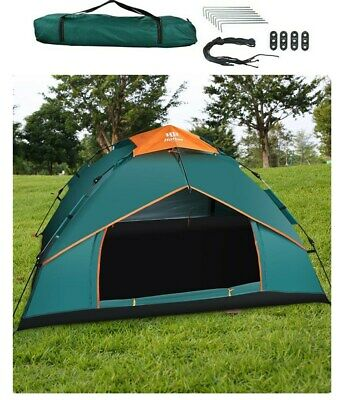UK 3-4 Man Person Camping Tent Festival Automatic Pop Up Double Layer Waterproof
