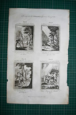 1790 Print Bankes Bible ~ Eve Garden Eden Forbidden Fruit Cain Slaying Abel