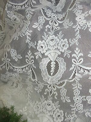 """Romantic Victorian Country Rose Lace vtg Long Single Curtain Panel 60""""W x 84""""L"""