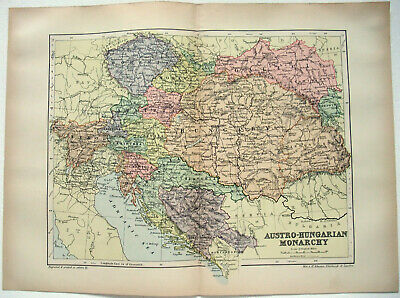 Original 1895 Map of Austro Hungarian Monarchy by W&AK Johnston. Austria Antique