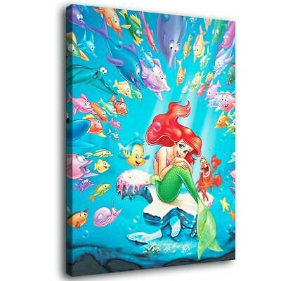 """12""""x16""""Disney Mermaid HD Canvas Print Painting Home Decor room Wall Art Pictures"""