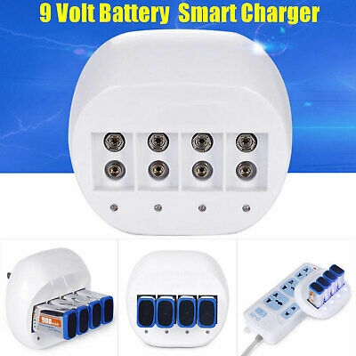 9 Volt 4x 600mAh Multipurpose Battery Charger 9V Li-ion Batteries Rechargeable