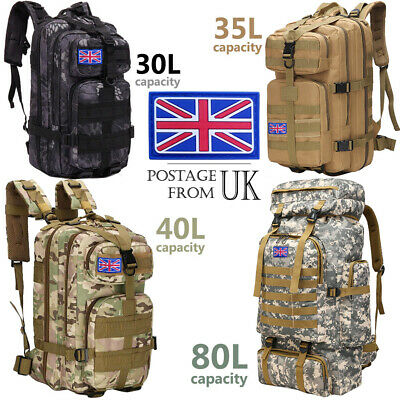 30L/35L/40L Military Tactical Army Rucksacks Molle Backpack Camping Hiking Bag