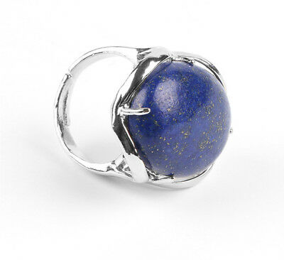 R085f Elegant Cocktail Ring Silver Plated Lapislazuli Blue Oval Adjustable Size