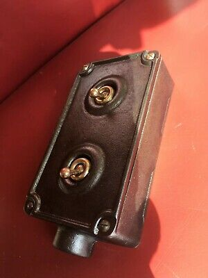 Industrial Switch 2 Gang cast Iron switch by KERSON C 1930 made in England