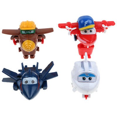 4Pcs Mini Super Wings Robot Airplane Transformer Animation Character Kids Toy