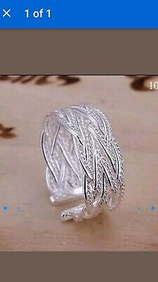 1b2ce9dff 925 Sterling silver entwined pattern ring size O but will adjust up and down