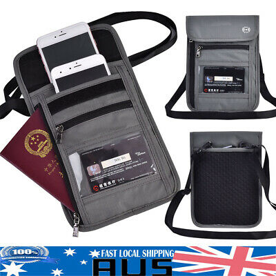 RFID Blocking Passport Card Holder Neck Stash Pouch Security Wallet Travel Bag