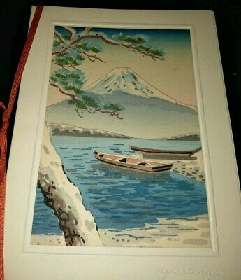 Vintage Japanese Woodblock Print On Christmas Greeting Card Boat Mountain Scene