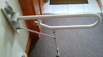 Unused White Drop Down Toilet Support Rail Grab Handle with Support Leg