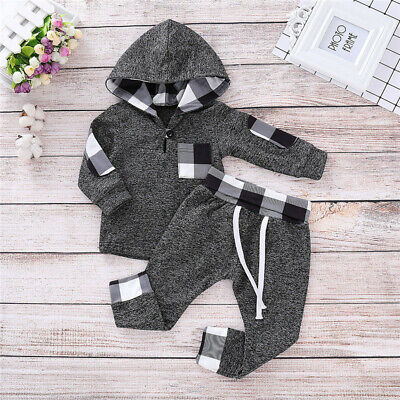 Newborn Baby Boy Girl Clothes Hoodies Sweatershirt Plaid Check Pants Outfits Set