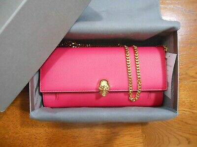 27987faf7e1d NWT Alexander McQueen $995 Leather Wallet on Chain Crossbody Shoulder Bag  w/Box