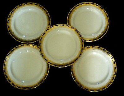 BOOTHS SILICON CHINA A1491 Cobalt Blue/White/Gold  7 1/2 inch Plates x 5  c1906