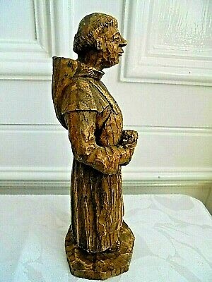 Vintage Wooden Hand Carved Brewing Monk Figurine Sic Made In France