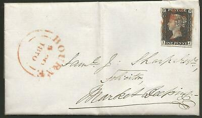 Penny Black Entire Letter 6Th Oct 1840 To Market Deeping From Bourne