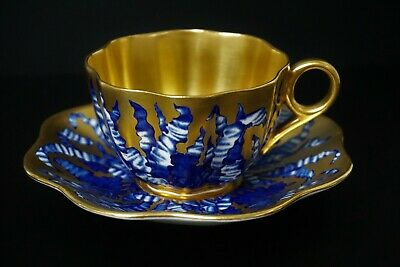 Antique Coalport Cobalt Blue Gold Aesthetic Style Full Sized Cup and Saucer - A