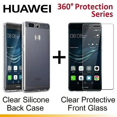 Front / Back Clear Tempered Glass Screen Protector Gel Case for Huawei P10 Plus