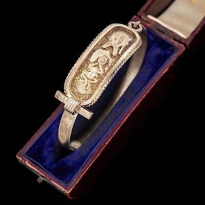 Antique Vintage Art Deco Sterling 800 Silver Egyptian Hieroglyph Bangle Bracelet